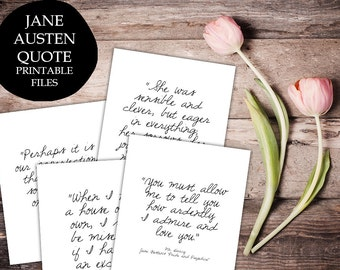 Jane Austen Quote Prints, printable quotes, wall art decor inspirational - digital typography Printable Wisdom
