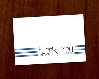 Blue Lines 4x6 Printable Thank You Card
