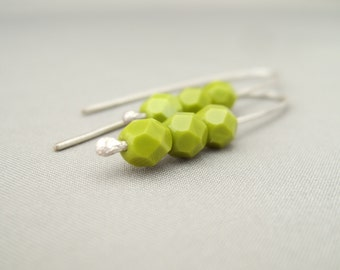 Pea Green Chartreuse Czech Glass and Sterling Silver Modern Earrings