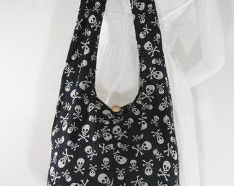 USA SHIPPING** Crossbody Shoulder Hippie Boho Hobo Messenger Bag Black Skull Goth Punk Purse More Color