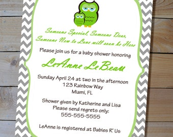Owl Baby Shower Invitation - Woodland Green Owl Chevron Printable Baby Shower Invitation