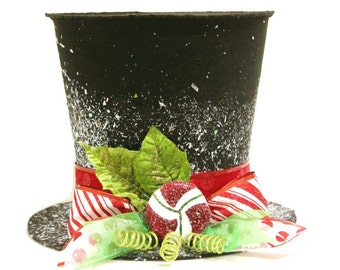 Black Candy cane top hat, Christmas tree topper, Christmas table decoration New Monogram option