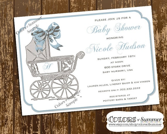 Baby Carriage Shower Invitation, Vintage Baby Carriage, Baby Shower Invitation, Sip & See Invite, New Baby, Birth Announcement, Digital File