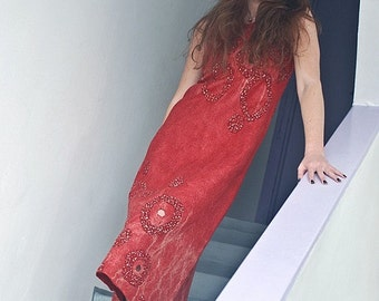 Eco style and boho chic fashion red felted dress from natural silk and A-Grade wool (with hand embroidery) OOAK - to order!