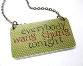 80s inspired paper ephemera necklace - hand stamped - wang chung - everybody wang chung tonight