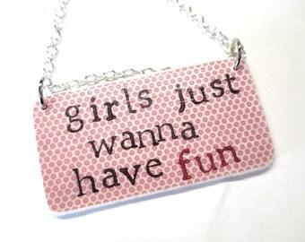 80s inspired paper ephemera necklace - hand stamped - cyndi lauper - girls just wanna have fun