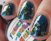 Save the Princess Nail Polish - MINI - true blue jelly with silver and gold glitter