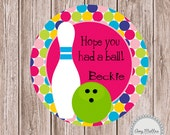 Girls Bowling Birthday Favor Tags or Stickers Printable PDF