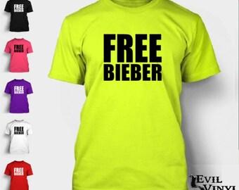 Free Bieber T-Shirt Justin Biebs Jail Arrested Prison Love Funny Belieber T Shirt TShirt Tee Neon FREE SHIPPING