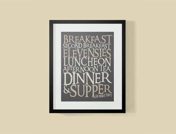 20% Off SALE Lord of The Rings Inspired Hobbit Diet Typography Poster, Lord of the Rings Wall Art, Modern Home Decor, Wall Art