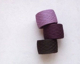 LINEN YARN -laceweight linen yarn in lavender, plum and dark brown *Radiant Orchid