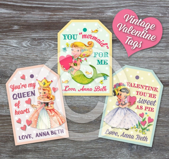 Printable Valentine Tags: Valentine's Day Vintage Gift Mermaid Queen Sweet Girl Hearts - PDF File, You Print