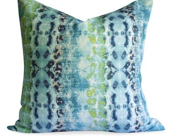 Abstract Pillow Cover in Teals - Same Fabric BOTH Sides - INVISIBLE Zipper  - 18x18 20x20 22x22 & lumbar sizes