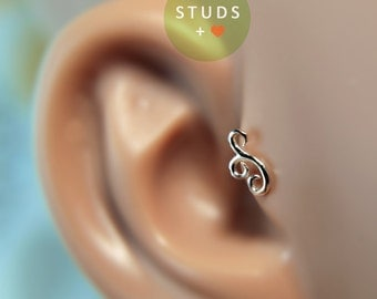 TRAGUS or CARTILAGE earring Stud /Swirl motif/ Sterling Silver/Nose stud/Nose ring/Nose hoop/Studs earrings/Ear Cuff/Helix earring