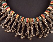 Yemenite silver ethnic necklace from the Middle East, bedouin necklace, ethnic and tribal jewelry, jewish jewelry, Yemen silver jewelry