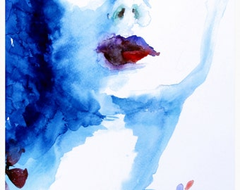 Abstract Portrait Watercolor Painting/Illustration - Art Print - 11 x 17 - The Blue Lady