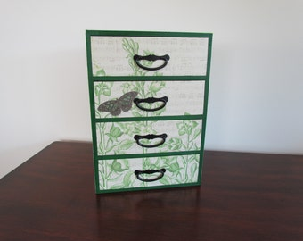 Dark Green Jewelry Box - with Butterfly & Green Flowers
