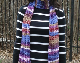 Multicolor (Purple/Pink/Tan/Red) Ribbed Scarf