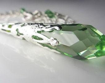Swarovski Peridot Necklace Sterling Silver Green Swarovski Crystal Pendant Necklace Icicle Peridot Green Necklace Light Green Swarovski