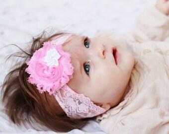 sweet pink Shabby Headband, baby headband, Baby headbands, newborn headband, flower headband, baby girl  hairbow