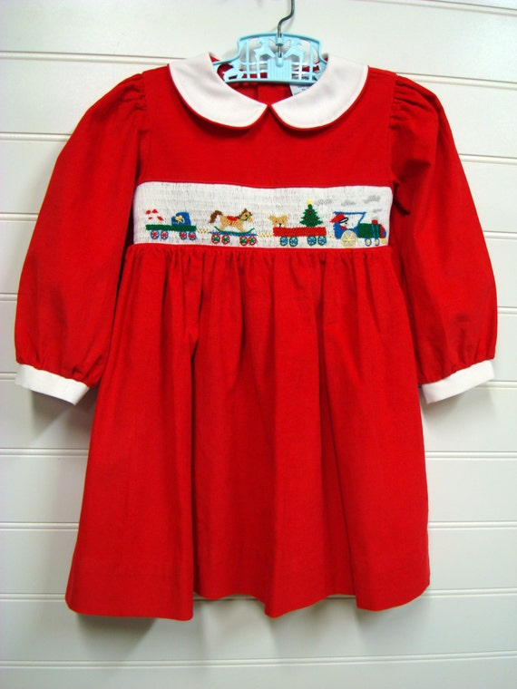 Vintage Baby Clothes Baby Girl Dress Red Corduroy Christmas