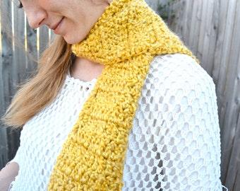Sunglow Saffron Crochet Scarf Golden Afternoon Yellow Daffodil Dandelion Soft Hand-Crafted Maize Amber Sun Gold Mustard Crocheted Neckwarmer