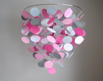 Pink, Gray & White Floating Dot Mobile (Large) // Nursery Mobile - Choose Your Colors