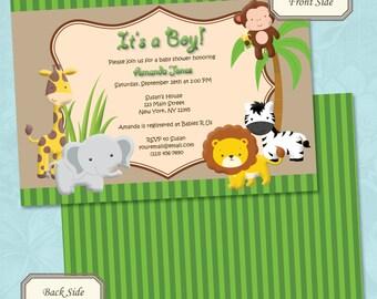 Jungle or Safari Baby Shower Invitation - Printable Digital File (Print Your Own)