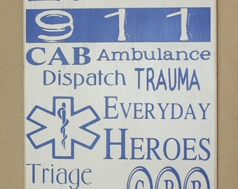EMS/Paramedic Subway Wall Art, Paramedic Decor, Distressed Wall Decor, Custom Wood Sign for EMS - EMS Subway Art