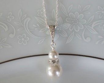 Pearl Bridal Necklace, Pearl Bridesmaid Jewelry, Swarovski Pearl Necklace, Bridesmaid Necklace, Wedding Jewelry