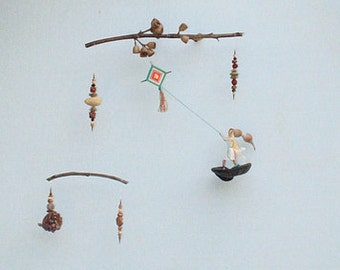 Baby Mobile - Eco friendly baby, fisherman and flying a kite Mobile, nursery decor, Made from natural materials,