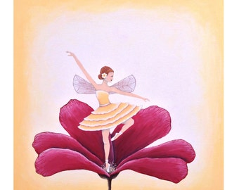 Original, Whimsical Dancing Fairy Painting- 12x12 gallery canvas by Little Sparrow Gallery