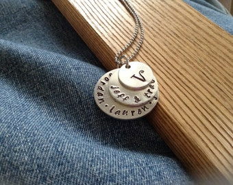 Family Monogram necklace... Three-layer Mother's necklace... Hand Stamped, personalized