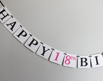 custom birthday banner - birthday decorations - Happy Birthday banner - Happy 18th Birthday banner