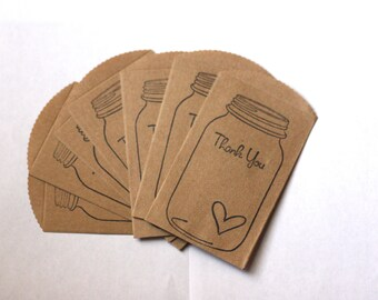 Mason Favor Bags or Gift Bags | Rustic Mason Jar Thank You Bags | Set of 50 Small Bags