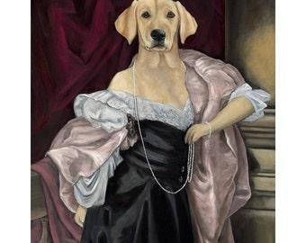 Yellow Lab Prints, Labrador Retriever, Lab in Black Dress Dog Art Print