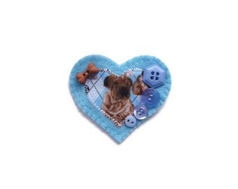 Dog Lovers Brooch with Buttons.