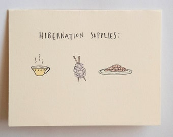 Hibernation Supplies Card, Blank Greeting Card, Knitting, Tea, Cookies, Typography