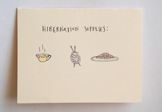 hibernation supplies card blank greeting card by kitschandstitchny, Greeting card