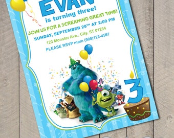 Monsters Inc DIY Printable Birthday Invitation by CartaCouture
