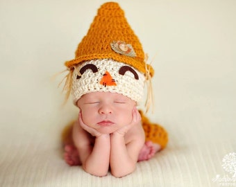 Baby Boy Scarecrow Hat And Pants / Short Set CUTE Fall HALLOWEEN Newborn Baby Boy  Crochet knit Scare Crow Hat