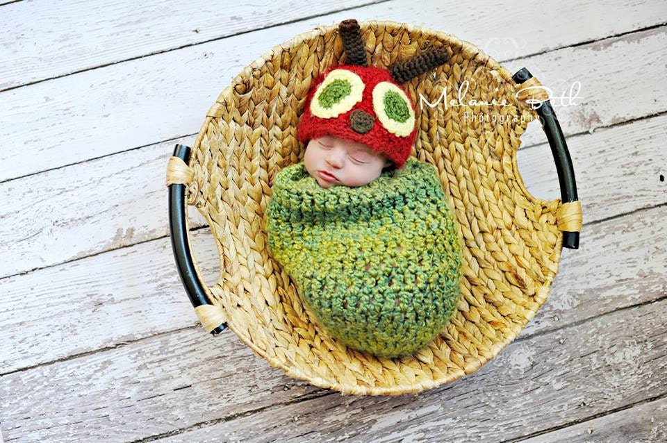 Crochet Caterpillar Hat Pattern : Baby Boy Hat CATERPILLAR Newborn Baby Boy Crochet
