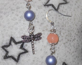 Silver, Purple and Peach Terra Cast Dragonfly Dangle Earrings, natural beauty, beauty from nature, woodland creatures