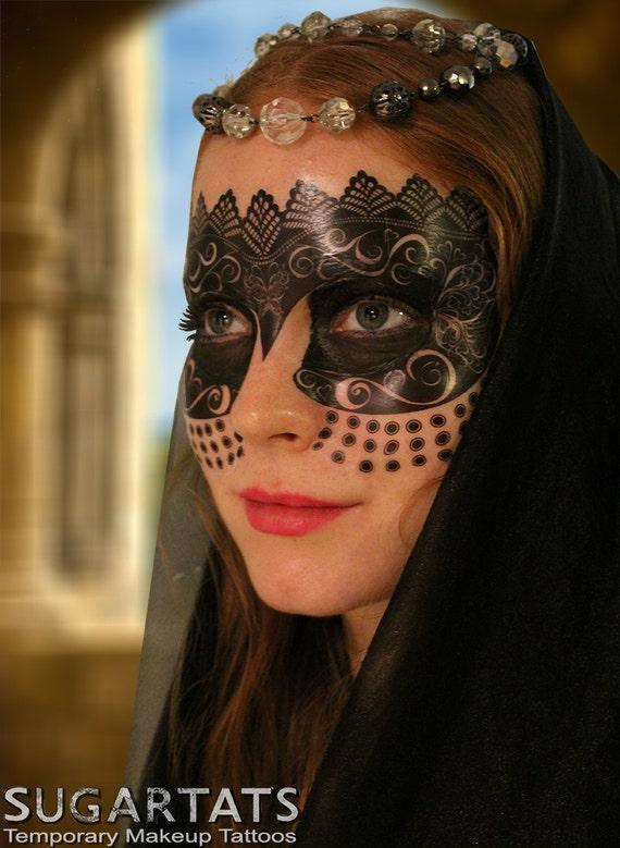 Medieval princess mask temporary makeup tattoo for mardi for Mardi gras mask tattoo