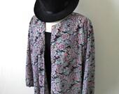 Plus Size Blouse / Light Jacket // Floral Button Up // Gold Buttons