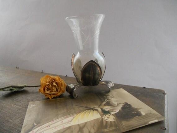Vintage glasvase mit metall basis kleine footed vase glasvase - Glasvase vintage ...
