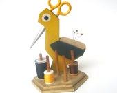 Vintage Bird Sewing Caddy - Scissor Thread Pincushion - Folk Art Wooden Yellow Bird