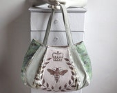 sale sale sale BEEZUS: FEEDSACK HOBO - hand painted bee crown laurel pale blue / aqua / sage green / stripe  hobo by Eurocentrics