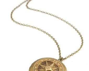 Compass Locket Necklace, Vintage Locket Necklace, Compass Locket, Travelers Gift, Graduation Gift
