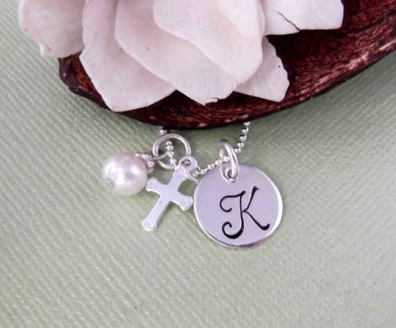 Cross Charm Necklace with Initial Charm and Birthstone- First Communion Necklace- Religious Necklace- Cross Necklace- Children's Jewelry